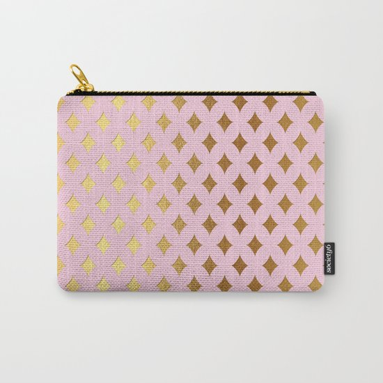 Queenlike- pink and gold elegant quatrefoil ornament pattern Carry-All Pouch