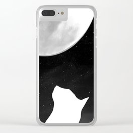 Black And White Dreaming Cat and Moon Design Clear iPhone Case