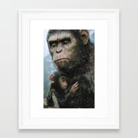 planet of the apes Framed Art Prints featuring Dawn of the Planet of The Apes by crayonide