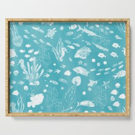 Watercolor Seascape in Light Teal Serving Tray