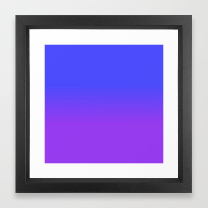 Neon Purple and Bright Neon Blue Ombré Shade Color Fade Framed Art Print 81889cfa23