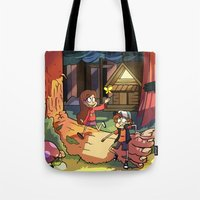 gravity falls Tote Bags featuring Gravity Falls by Izzy