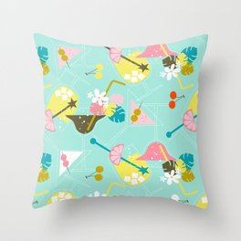 Pink Flamingo Cocktails Throw Pillow