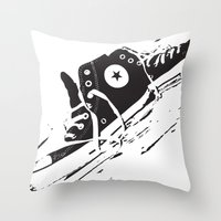 converse Throw Pillows featuring CONVERSE by PixelRiff