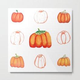 Watercolor pumpkins set Metal Print