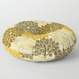 Golden Petals Pattern Floor Pillow
