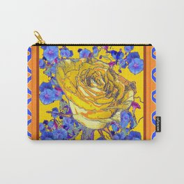 CORAL & BLUE LATTICE & YELLOW ROSE BLUE MORNING GLORY FLOWERS Carry-All Pouch