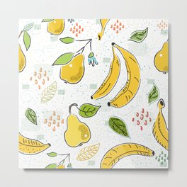 Cute Seamless Pattern with bananas and Pears. Scandinavian Hand Drawn Style Metal Print