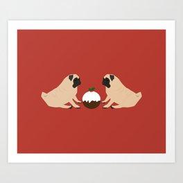 Christmas Pudding and Pugs Art Print