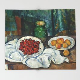 """Paul Cezanne """"Still Life with Cherries and Peaches"""" Throw Blanket"""