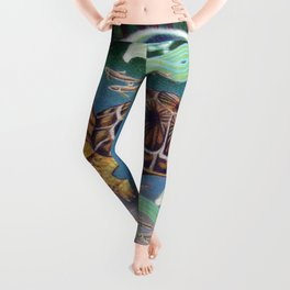 Wood Turtle Color Pencil Artwork Leggings