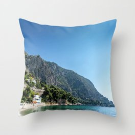 French Riviera Beach Day Throw Pillow