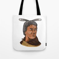 maori Tote Bags featuring Maori Chief Warrior Bust Watercolor by patrimonio