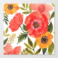 oana befort Canvas Prints featuring FLOWER POWER by Oana Befort