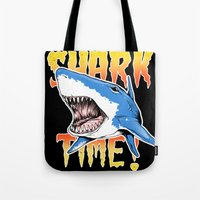 shark Tote Bags featuring Shark by Silver Larrosa