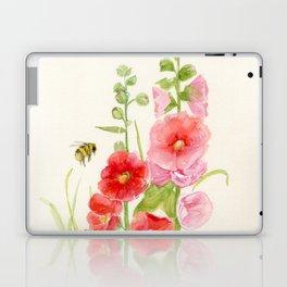 Watercolor Flower Pink Hollyhock and Bee Laptop & iPad Skin