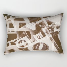 Retro SLR camera on background film Rectangular Pillow