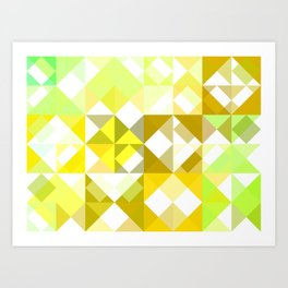Pale Yellow Poinsettia 1 Abstract Triangles 1 Art Print