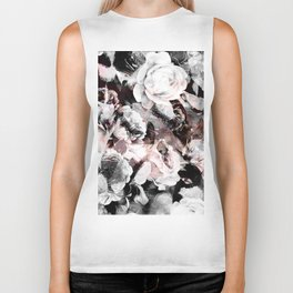flowers - roses and black marble Biker Tank