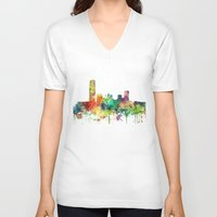 oklahoma V-neck T-shirts featuring Oklahoma City, Oklahoma skyline SP by Marlene Watson