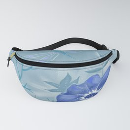 Blue Dragonfly Floral Fanny Pack