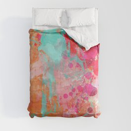Paint Splatter Turquoise Orange And Pink Comforters