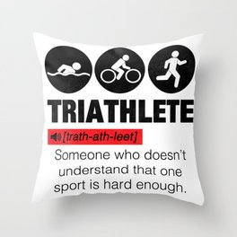 Funny Definition Triathlete Throw Pillow