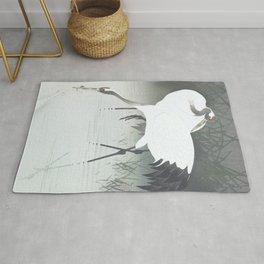 Two cranes fishing in the swamp - Vintage Japanese Woodblock Print Art Rug