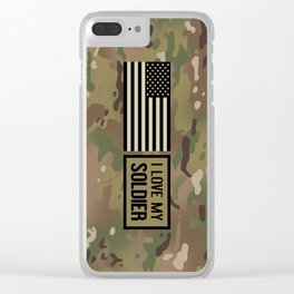 I Love My Soldier (Camo) Clear iPhone Case