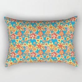 Ditsy Orange Flowers on Blue Rectangular Pillow