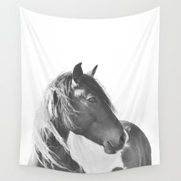Stallion in black and white Wall Tapestry