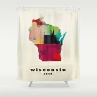 wisconsin Shower Curtains featuring Wisconsin state map modern by bri.buckley