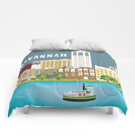 Savannah, Georgia - Skyline Illustration by Loose Petals Comforters