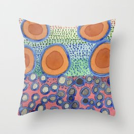 Seven Red Circles Many Brown Dots  Throw Pillow