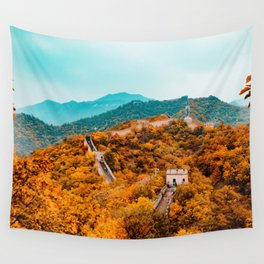 The Great Wall of China in Autumn (Color) Wall Tapestry