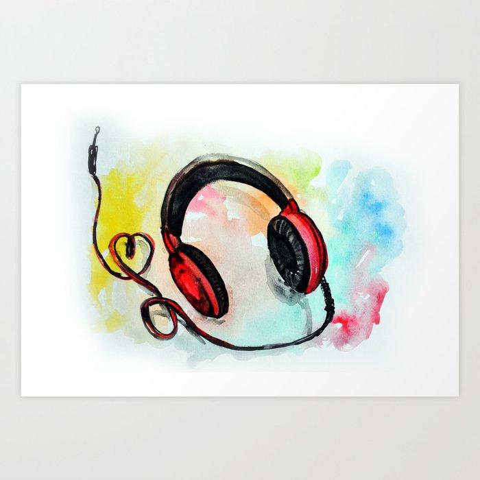 Watercolor Of Headphones Music Love Art Print By Oanaunciuleanu