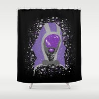 mass effect Shower Curtains featuring Tali'Zorah (Mass Effect) by MajesticSeahawk Designs