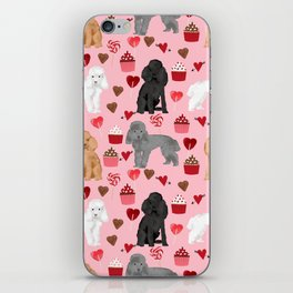 Toy Poodles mixed coat valentines day cupcakes love hearts dog breed gifts pet portraits must haves iPhone Skin