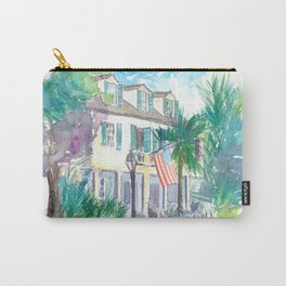 Key West Conch Dream House - Sunset And Flag Carry-All Pouch