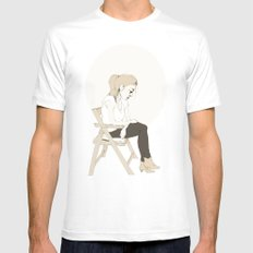 girl sitting White MEDIUM Mens Fitted Tee