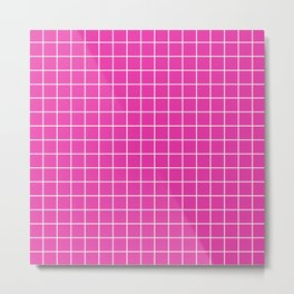 Frostbite - pink color - White Lines Grid Pattern Metal Print