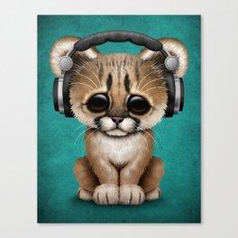Cute Cougar Cub Dj Wearing Headphones on Blue Canvas Print