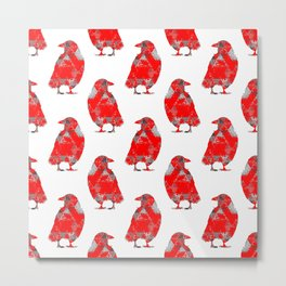 tri crows redgrey Metal Print