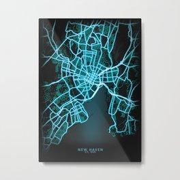 New Haven, CT, USA, Blue, White, Neon, Glow, City, Map Metal Print