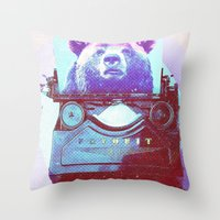 writer Throw Pillows featuring Grizzly writer by RedGoat