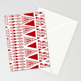 Zig Zag Pattern -  brick red Stationery Cards