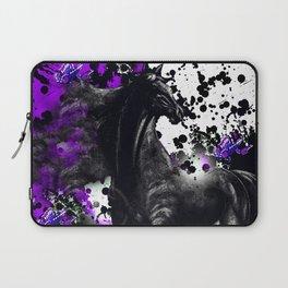 HORSE BLACK AND PURPLE THUNDER INK SPLASH Laptop Sleeve