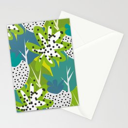 White strawberries and green leaves Stationery Cards