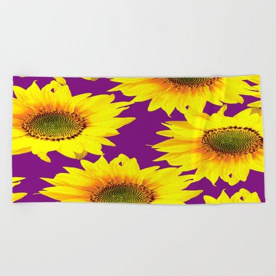 Sunflowers on a purple background - summer mood - #Society6 #buyart Beach Towel