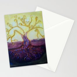 Citrine Tree in Yellow & Purple Stationery Cards